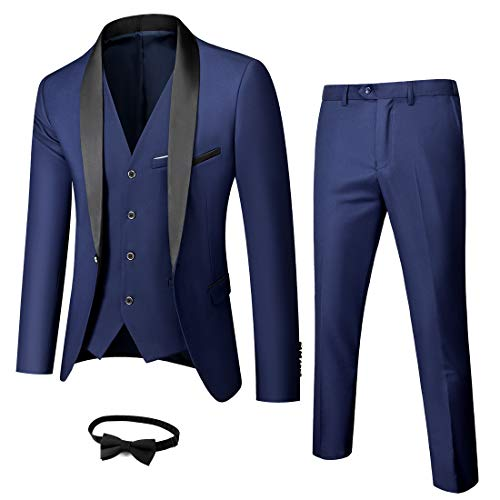 MY'S Men's 3 Piece Slim Fit Suit Set, 2 Button Blazer Jacket Vest Pants with Tie, Solid Wedding Dress Tux and Trousers, Black, XS, 5'5-5'9, 120-140lbs