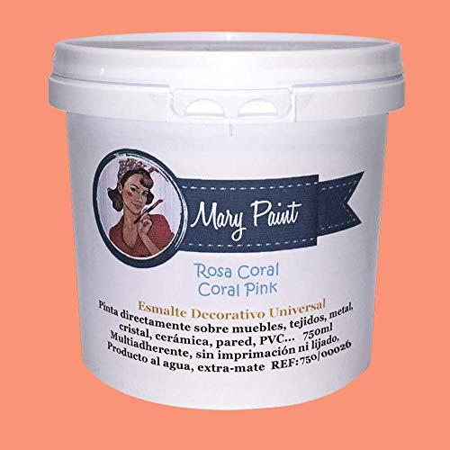 Mary Paint | Pintura para muebles efecto Chalk Paint, Rosa Coral - 750ml