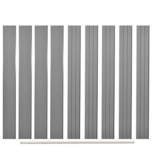Festnight Panneau de clôture de Remplacement Gris 170 cm clôture Bois Jardin barrière de Jardin clôture Bois Exterieur