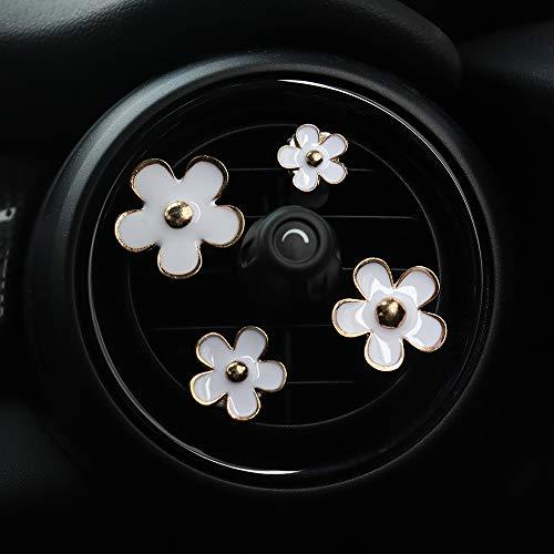 INEBIZ Charm per auto Bellissimi fiori a margherita Decorazione per bocchette di ventilazione Carini (bianco)