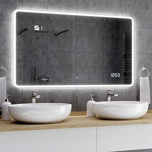 Alasta® Badkamerspiegel met LED-Verlichting - 80x120 cm - Model Osaka - Spiegel met Aanraaklichtschakelaar en LED Klok