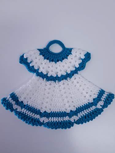 Agarradera de olla o Adorno de Cocina Vestido Blanco/Azul