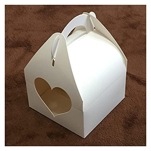20 unids / lote Caja de regalo de papel kraft grande con mango Cumpleaños de boda Caja de pastel de cartón blanco Caja de cupcake negro para regalos de embalaje Accesorios para hornear hechos a mano F