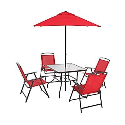 Mainstays Albany Lane 6-Piece Folding Seating Set: Red