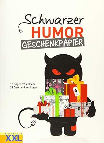 Schwarzer Humor - Geschenkpapier: 10 Bögen 72 x 52 cm, 21 Geschenkanhänger im Set