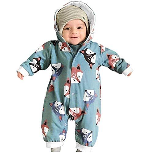 WEXCV Neugeborene Baby Strampler für Mädchen und Jungen Romper Bodysuit Kleidung Lange Ärmel Cartoon Fuchs Drucken Mit Kapuze Herbst Winter Warm Niedlich Jumpsuit 0-24 Monate