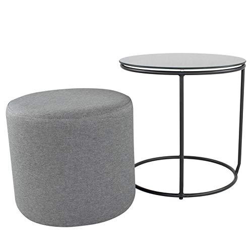i-flair Nachttisch Beistelltisch mit Hocker Jasper runder Couchtisch und Pouf 40x40 cm N0 Schwarz - Schwarz - Grau