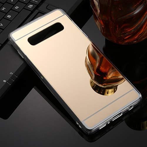 Funda telefónica Delgada, a Prueba de Golpes, a Prueba de Suciedad, Impermeable, para Galaxy S10 TPU + Acrílico Cubierta de la Caja del teléfono del Espejo del Espejo de Lujo (Color : Gold)