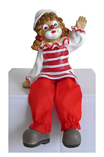 Unbekannt Niedlicher Kantenhocker ~ Clown rot-weiß winkend ~ Karneval Köln Harlekin Deko Figur