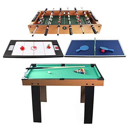 TINGMEI Mesa Multijuegos 4 en 1,Sport Arena,Futbolín, Billar, Airhockey, Ping-Pong,Juguete de Madera para Niños y Adultos