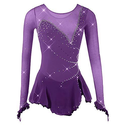 Eiskunstlauf-Kleid-Frauen-Mädchen Eislauf-Performance-Wettbewerb Kostüm Spandex Strass Handgemachte purpurrote Lange Ärmel-Eislauf-Abnutzungs,Lila,M