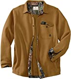Legendary Whitetails mens Big Woods Fleece Shirt Jacket, Barley/Mossy Oak Country, XX-Large