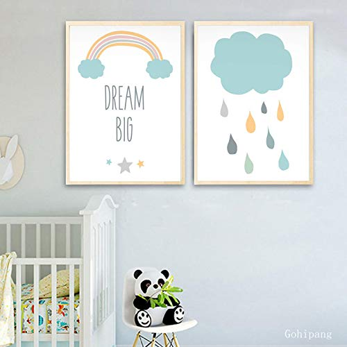 qianyuhe Baby Nursery Wall Art Canvas Poster Print Sweet Dreams Cartoon Painting Nordic Kids Decoration Picture Children Bedroom Decor 50x70cmx2 No Frame