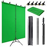 JEBUTU Green Screen Backdrop Stand Kit,5 X 6.5 Ft Portable Green Screen Stand for Video,Zoom,Photography Support System with Carrying Bag & 5 Spring Clamps
