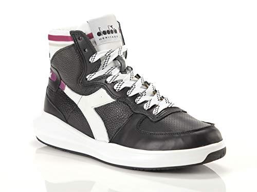 Diadora Heritage, Unisex Adulto, Mi Basket H Leather MDS, Pelle, Sneakers Alte, Nero, 38