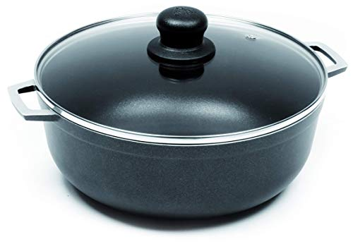 IMUSA USA Black 4.8Qt Nonstick Caldero with Glass Lid and Steam Vent (Dutch Oven), 4.8-Quarts