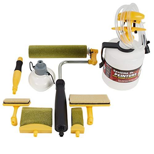 StreichSYSTEM mit Farbpumpe | Malerrolle mit Farbtank | Renovierungsset mit Streichpads und Fülltrichter | Steckadapter für den schnellen Austausch
