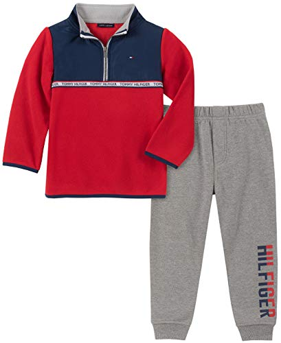 Tommy Hilfiger Baby Boys 2 Pieces Pants Set, Navy/Red, 3-6 Months