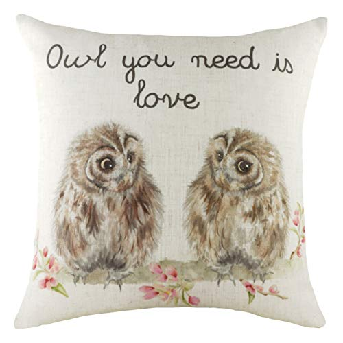 Evans Lichfield Hedgerow Owls Polyester Filled Cushion, Multi, 43 x 43cm