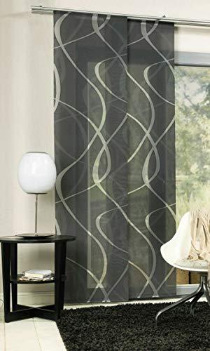 erfal Schiebevorhang Schiebegardine Flächenvorhang Raumteiler transparent 60 x 245 cm Wave wellige Streifen anthrazit