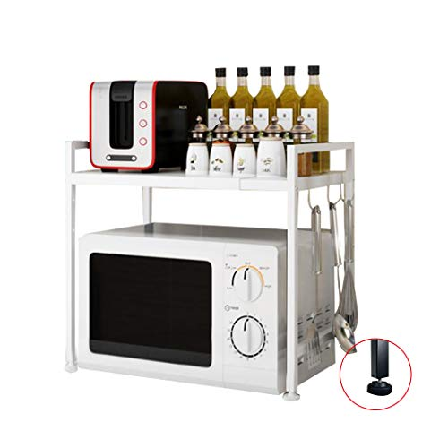 Mikrowellenherd aus Kohlenstoffstahl, Erweiterbares Mikrowellen Regal, 2-stufiges Platzsparregal und Organizer für Küchenarbeitsplatten mit 3 Haken, 110 lbs Gewichtskapazität, Weiß H Typ