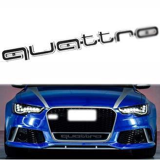 UTOPIAY Auto Dekoratives Logo, Quattro Logo Emblem Für Kühlergrill ABS Buchstaben Aufkleber Für A-UDI A3 A4 A6 A7 Q3 Q5,Schwarz