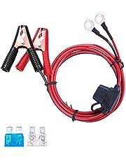 DEDC Auto-accu-omvormer, verlengkabel, oogaansluiting met accuklem, accuclip-on met 15 A en 25 A zekeringbescherming (13,1 ft lang)