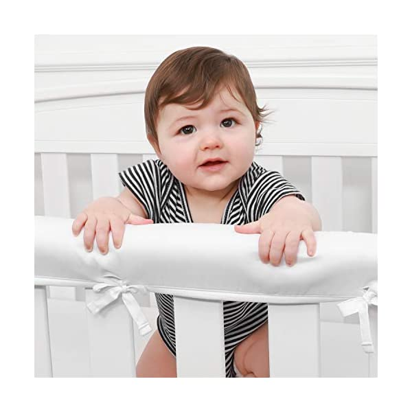 TILLYOU 3-Piece Padded Baby Crib Rail Cover Protector Set from Chewing, Safe Teething Guard Wrap for Standard Cribs, 100% Silky Soft Microfiber Polyester, Fits Side and Front Rails, White