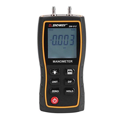 Fdit 11 Einheit Portable Digital Manometer LCD Anzeige Differential Manometer Luftdruckmesser Druckmesser Schwarz