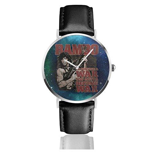 John J. Rambo Survive War You Gotta Become War Army Reloj de Pulsera de Cuarzo con Correa de Cuero Reloj clásico