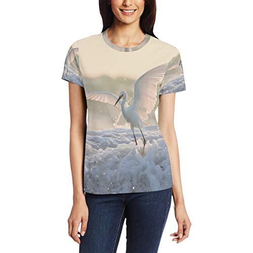Egret On Snow Damen Casual T-Shirt Kurzarm Tunika Tops Rundhalsausschnitt Bluse Bequem Gr. X-Large, Bm002