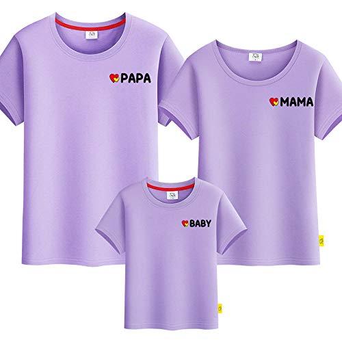 SANDA Sudadera,Servicio de Clase de jardín de Infantes Ropa para Padres e Hijos Ropa de Verano 2020 Nueva Camiseta de Manga Corta con Retrato Familiar Ropa Familiar-púrpura_Niño 140