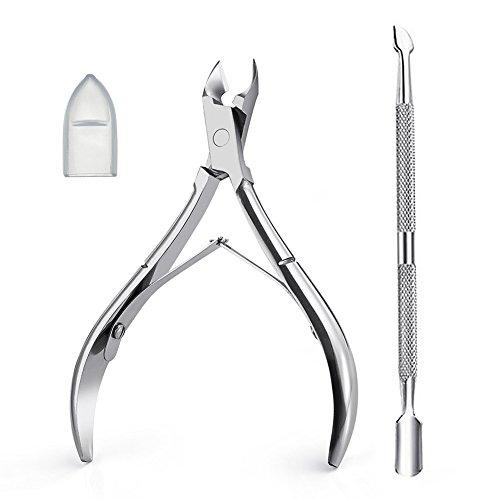Tasipa cuticole, taglierina e rimuovi cuticole con cuticole spingi cuticole per unghie pelle morta–acciaio inossidabile (argento)