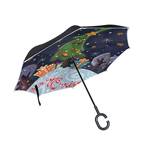 Bigjoke Doppelschichtiger umgekehrter Regenschirm, Weihnachtsbaum, Winddicht, wasserdicht, für Auto, Outdoor, Reisen, Erwachsene, Herren und Frauen