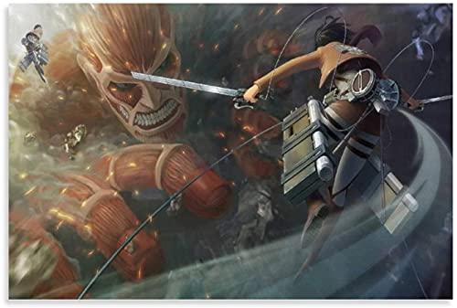 chuanglanja Lienzo Pintura Al Óleo 30x50cm Sin Marco Anime Attack On Titan Mikasa Ackerman Arte de Pared impresión de Imagen Moderna decoración de Dormitorio Familiar Carteles