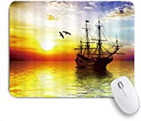 NIESIKKLAマウスパッド サンライズオーシャン海賊船 ゲーミング オフィス最適 高級感 おしゃれ 防水 耐久性が良い 滑り止めゴム底 ゲーミングなど適用 用ノートブックコンピュータマウスマット