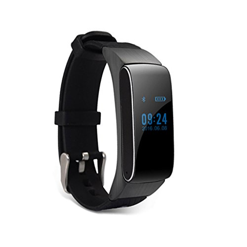 XHZNDZ 2 in 1 Bewegung Tracker, Bluetooth Headset Smart Freisprecheinrichtung Smart Watch Fitness Kopfhörer für Android (Farbe : Schwarz)