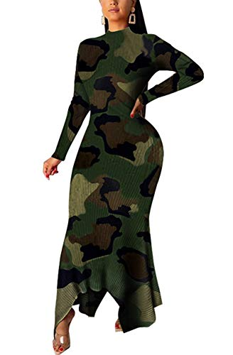 JOSUSY Womens Printed Turtleneck Asymmetric Hem Bodycon Cocktail Party Bodycon Long Maxi Dress XX-Large Camo