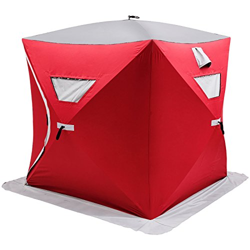 Popsport 2 3 4 8 Person Ice Fishing Shelter Tent 300d Oxford Fabric Portable Ice Shelter Strong Waterproof Ice Fish Shelter for Outdoor Fishing (Red for 2 Person)(Red for 2 Person)