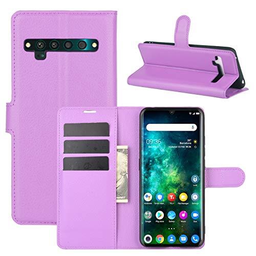 HUANGYUNCHAO HYC Carcasa de telefono para TCL 10 Pro Litchi Textura Horizontal Flip Funda Protectora con el sostenedor y Ranuras para Tarjetas y Monedero (Color : Púrpura)