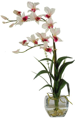 Nearly Natural 1135-WH Dendrobium with Glass Vase