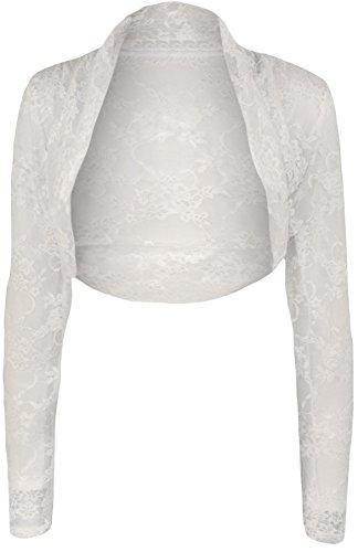 WearAll - Damen Übergröße Langarm Spitze Bolero Kurz Jacke Top - Weiß - 48-50