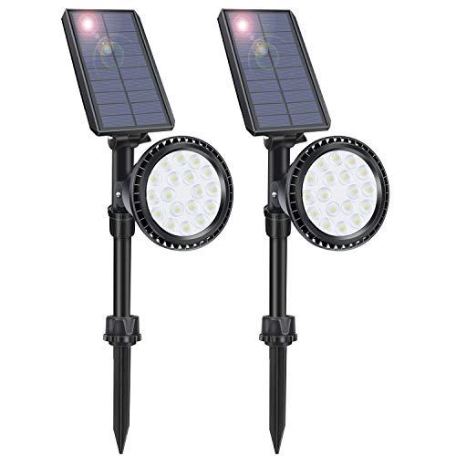 LITSPOT Solar Landscape Lights Outdoor, 18 LED Motion Sensor Spotlights Lumières de sécurité avec 4 modes d'éclairage Lampes de jardin étanches, pack de 2 (lumière blanche)