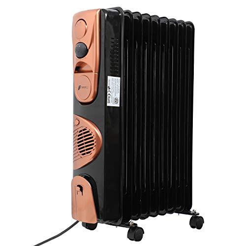 Powerpye OFR 11Fin Oil Filled Radiator 2900-Watt PTC Fan Heater (Black & Gold)