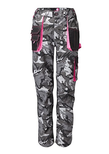 Workkitgirl Damen Arbeitshose, Camouflage Gr. L, Tarnfarbe