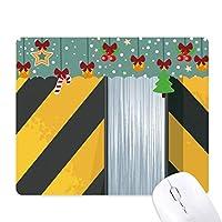 ロゴ黒と黄色のストリップ ゲーム用スライドゴムのマウスパッドクリスマス