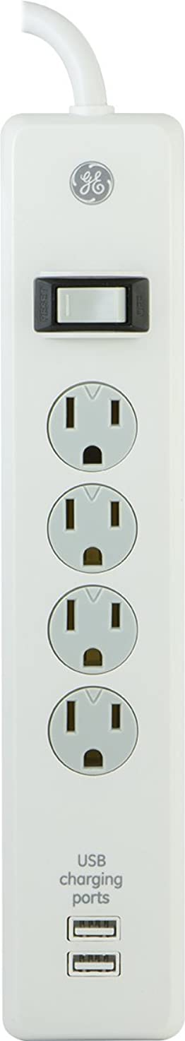 GE Surge Protector, 4 Outlet, 2 USB Charging Ports, 3 Ft Long Extension Cord, 1A USB Charging, 450 Joules, White, 14090