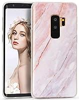 Imikoko Galaxy S9 Plus ケース [ SC-03K SCV39 ] 対応 大理石 耐衝撃 シリコン ソフト tpu かわいい レンズ保護 マーブル マット スリム 耐久性 保護ケース (ギャラクシー S9 Plusピンク+グレー)