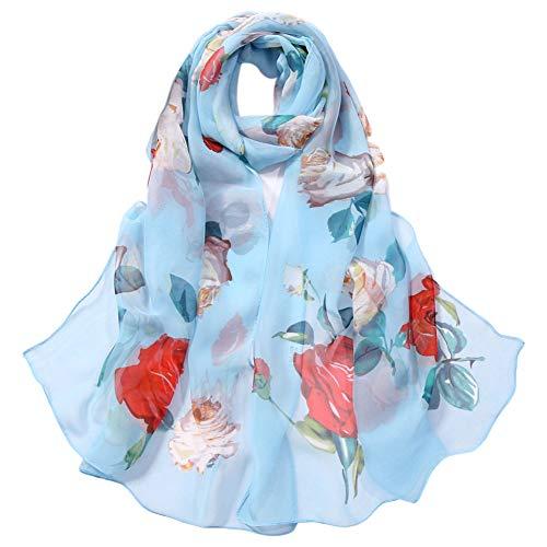 Demarkt Bufanda fina para mujer, imitación de seda, chal para el sol, bufanda de seda, bufanda exótica, bufanda grande de rosa, 160 x 50 cm azul claro 160*50 cm