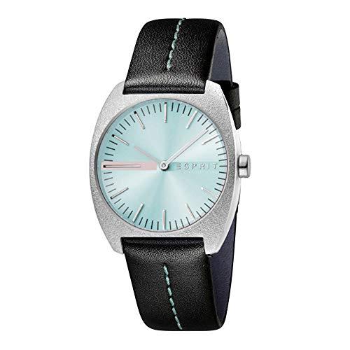 Esprit Damen Uhr Analog Quarz mit Leder Armband Schwarz ES1L035L0025